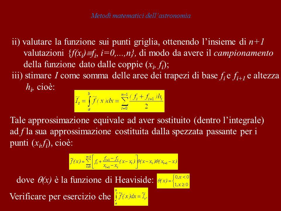 Metodi matematici dellastronomia ii) valutare la funzione sui punti griglia, ottenendo linsieme di n+1 valutazioni {f(x i ) f i, i=0,...,n}, di modo d