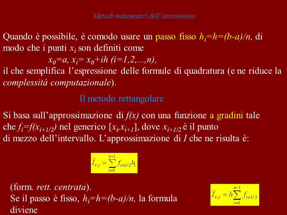 Metodi matematici dellastronomia Quando è possibile, è comodo usare un passo fisso h i =h=(b-a)/n, di modo che i punti x i son definiti come x 0 =a, x