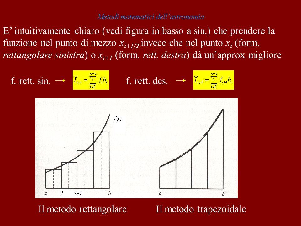 Metodi matematici dellastronomia Il metodo rettangolareIl metodo trapezoidale E intuitivamente chiaro (vedi figura in basso a sin.) che prendere la fu