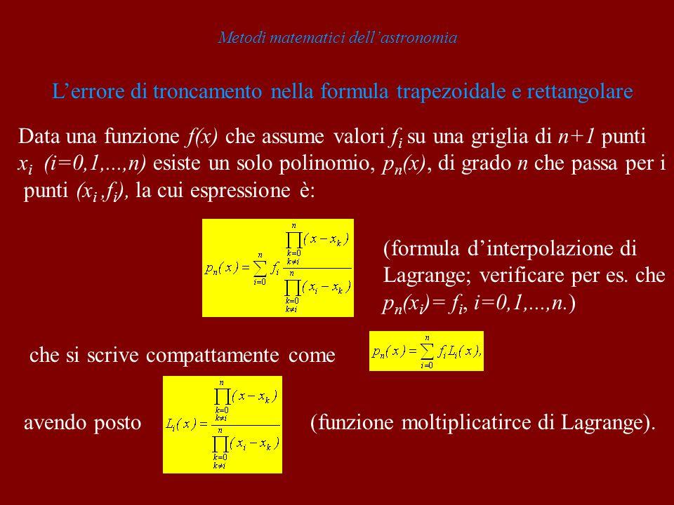 Metodi matematici dellastronomia Lerrore di troncamento nella formula trapezoidale e rettangolare Data una funzione f(x) che assume valori f i su una