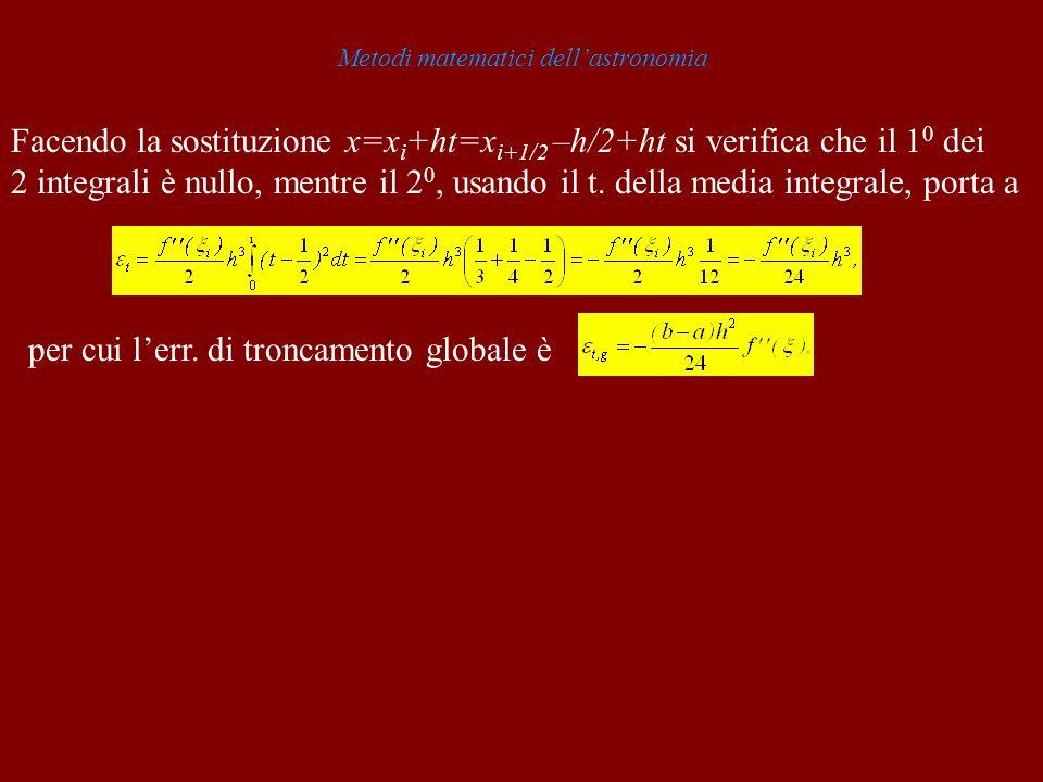 Metodi matematici dellastronomia Facendo la sostituzione x=x i +ht=x i+1/2 –h/2+ht si verifica che il 1 0 dei 2 integrali è nullo, mentre il 2 0, usan