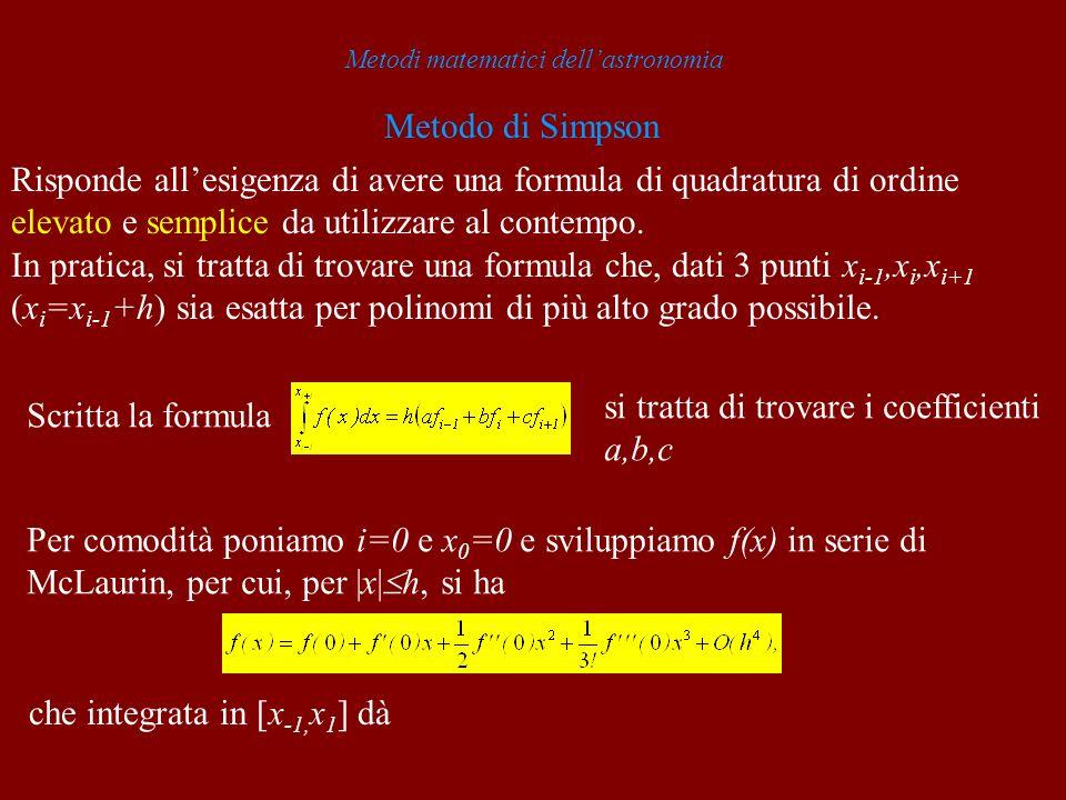 Metodi matematici dellastronomia Metodo di Simpson Risponde allesigenza di avere una formula di quadratura di ordine elevato e semplice da utilizzare