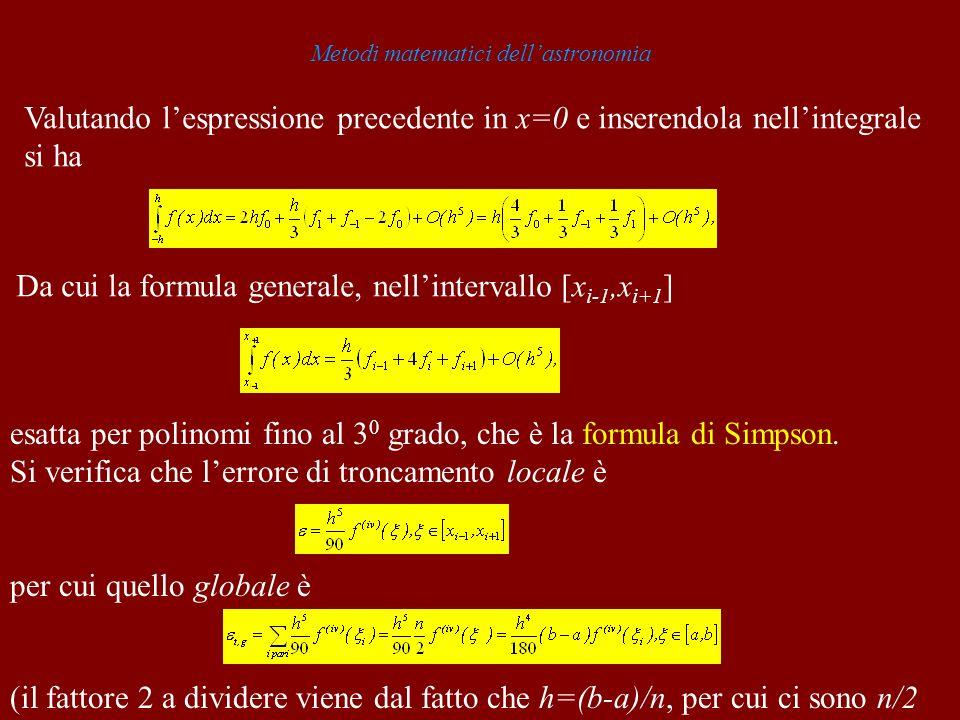 Metodi matematici dellastronomia Valutando lespressione precedente in x=0 e inserendola nellintegrale si ha Da cui la formula generale, nellintervallo