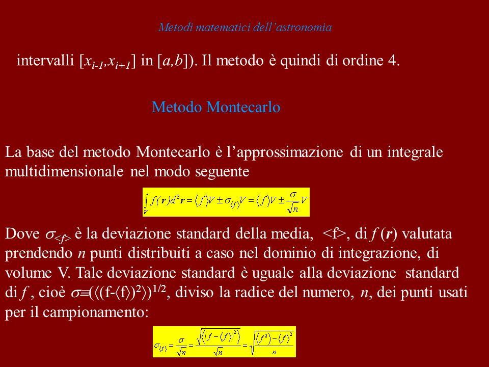 Metodi matematici dellastronomia intervalli [x i-1,x i+1 ] in [a,b]). Il metodo è quindi di ordine 4. Metodo Montecarlo La base del metodo Montecarlo
