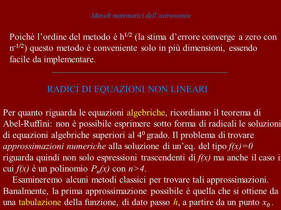 Metodi matematici dellastronomia Poichè lordine del metodo è h 1/2 (la stima derrore converge a zero con n -1/2 ) questo metodo è conveniente solo in