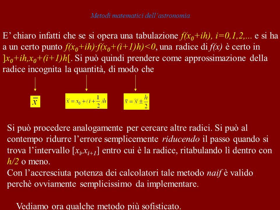 Metodi matematici dellastronomia E chiaro infatti che se si opera una tabulazione f(x 0 +ih), i=0,1,2,... e si ha a un certo punto f(x 0 +ih)·f(x 0 +(