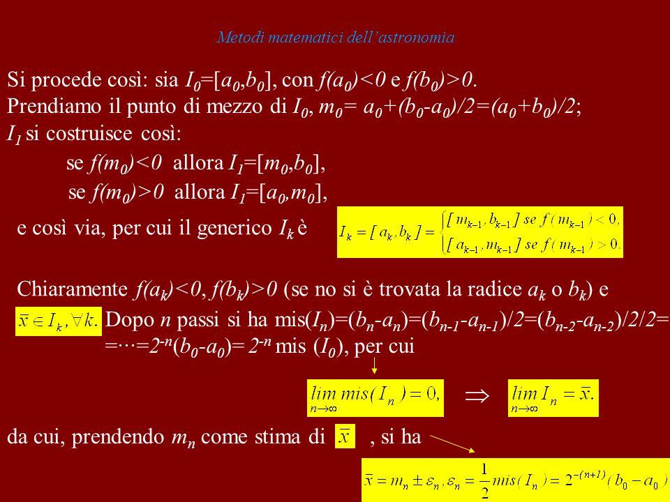Metodi matematici dellastronomia Si procede così: sia I 0 =[a 0,b 0 ], con f(a 0 ) 0. Prendiamo il punto di mezzo di I 0, m 0 = a 0 +(b 0 -a 0 )/2=(a