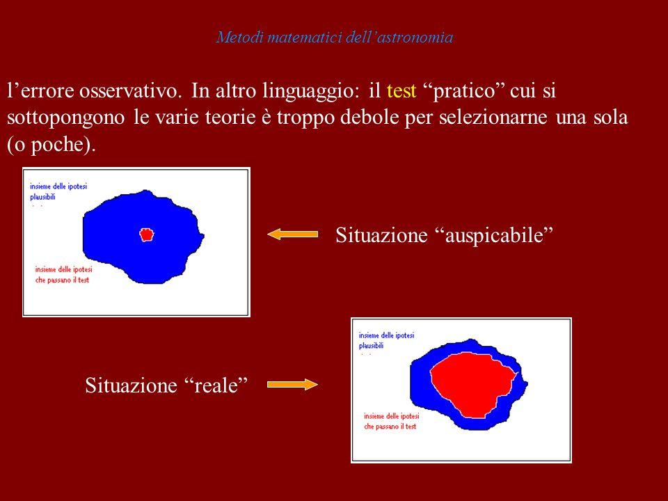 Metodi matematici dellastronomia lerrore osservativo. In altro linguaggio: il test pratico cui si sottopongono le varie teorie è troppo debole per sel