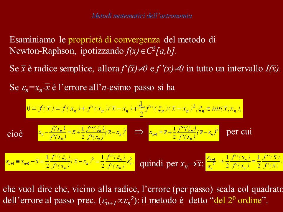 Metodi matematici dellastronomia Esaminiamo le proprietà di convergenza del metodo di Newton-Raphson, ipotizzando f(x) C 2 [a,b]. _ _ _ Se x è radice