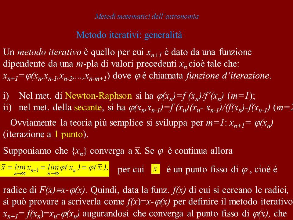 Metodi matematici dellastronomia Metodo iterativi: generalità Un metodo iterativo è quello per cui x n+1 è dato da una funzione dipendente da una m-pl