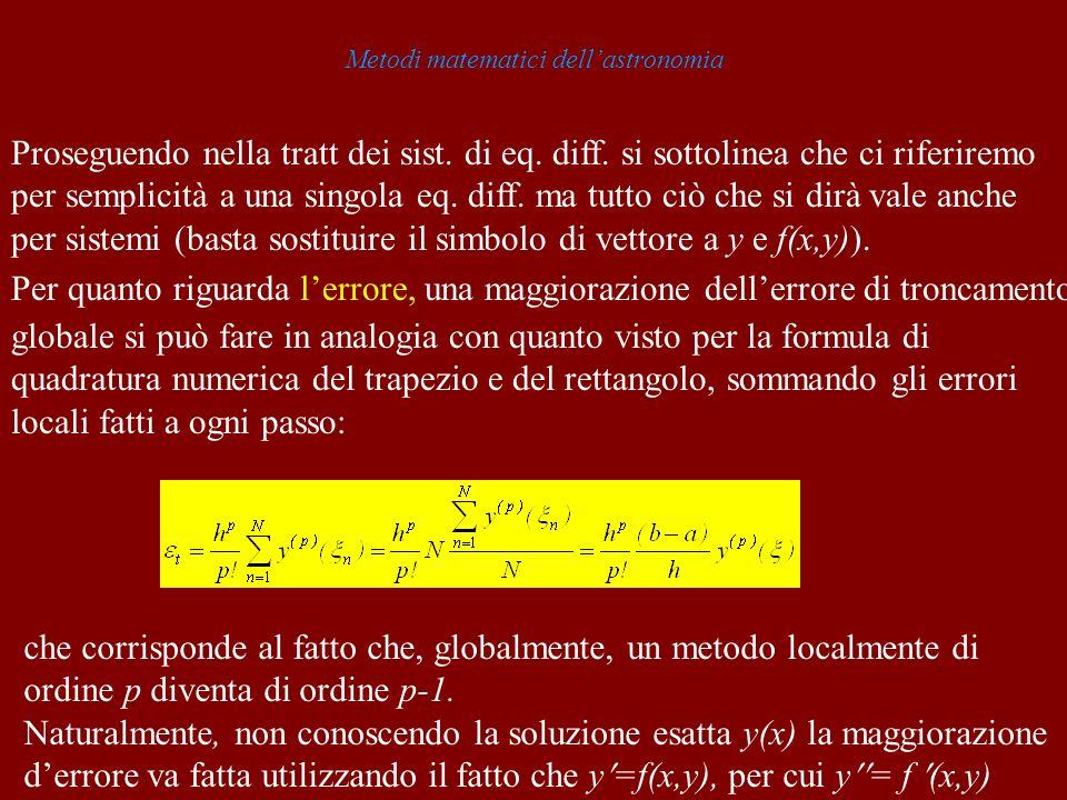 Metodi matematici dellastronomia Proseguendo nella tratt dei sist. di eq. diff. si sottolinea che ci riferiremo per semplicità a una singola eq. diff.