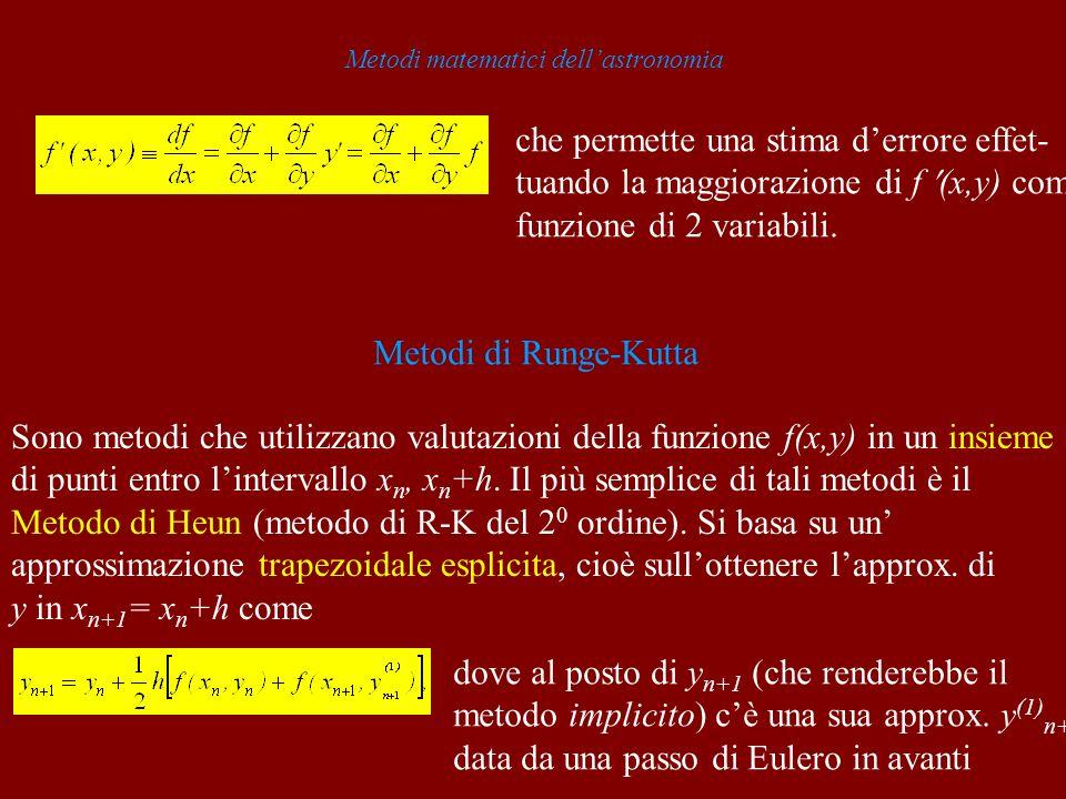 Metodi matematici dellastronomia che permette una stima derrore effet- tuando la maggiorazione di f (x,y) come funzione di 2 variabili. Metodi di Rung