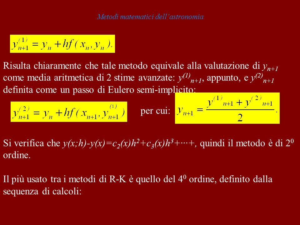 Metodi matematici dellastronomia Risulta chiaramente che tale metodo equivale alla valutazione di y n+1 come media aritmetica di 2 stime avanzate: y (