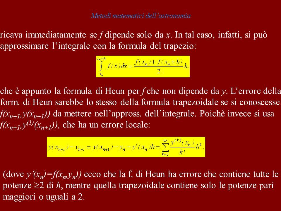 Metodi matematici dellastronomia ricava immediatamente se f dipende solo da x. In tal caso, infatti, si può approssimare lintegrale con la formula del