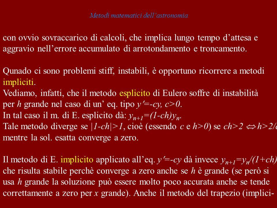 Metodi matematici dellastronomia con ovvio sovraccarico di calcoli, che implica lungo tempo dattesa e aggravio nellerrore accumulato di arrotondamento