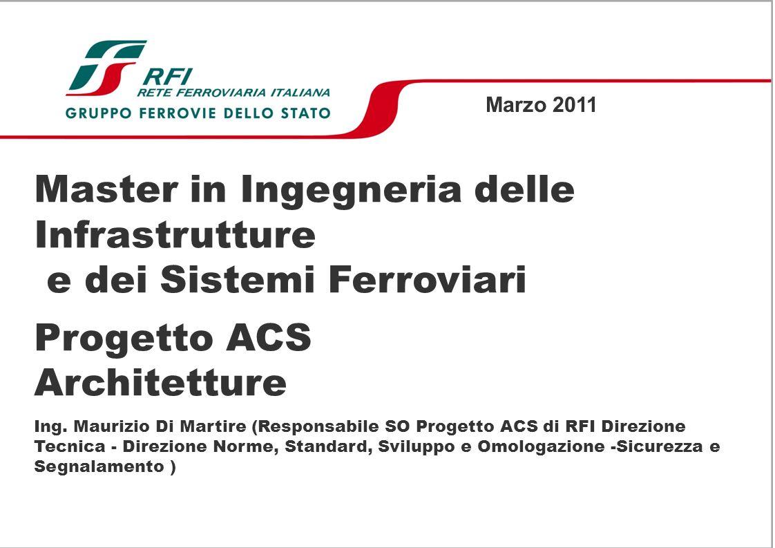 Master in Ingegneria delle Infrastrutture e dei Sistemi Ferroviari Progetto ACS Architetture Ing.