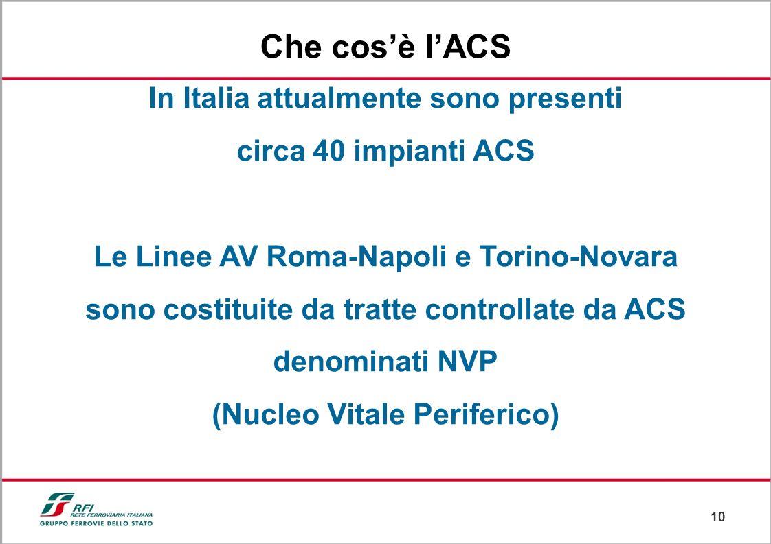 9 Successivamente è stato installato dalla società ALSTOM ad agosto 2003 lACS di Roma Ostiense Che cosè lACS