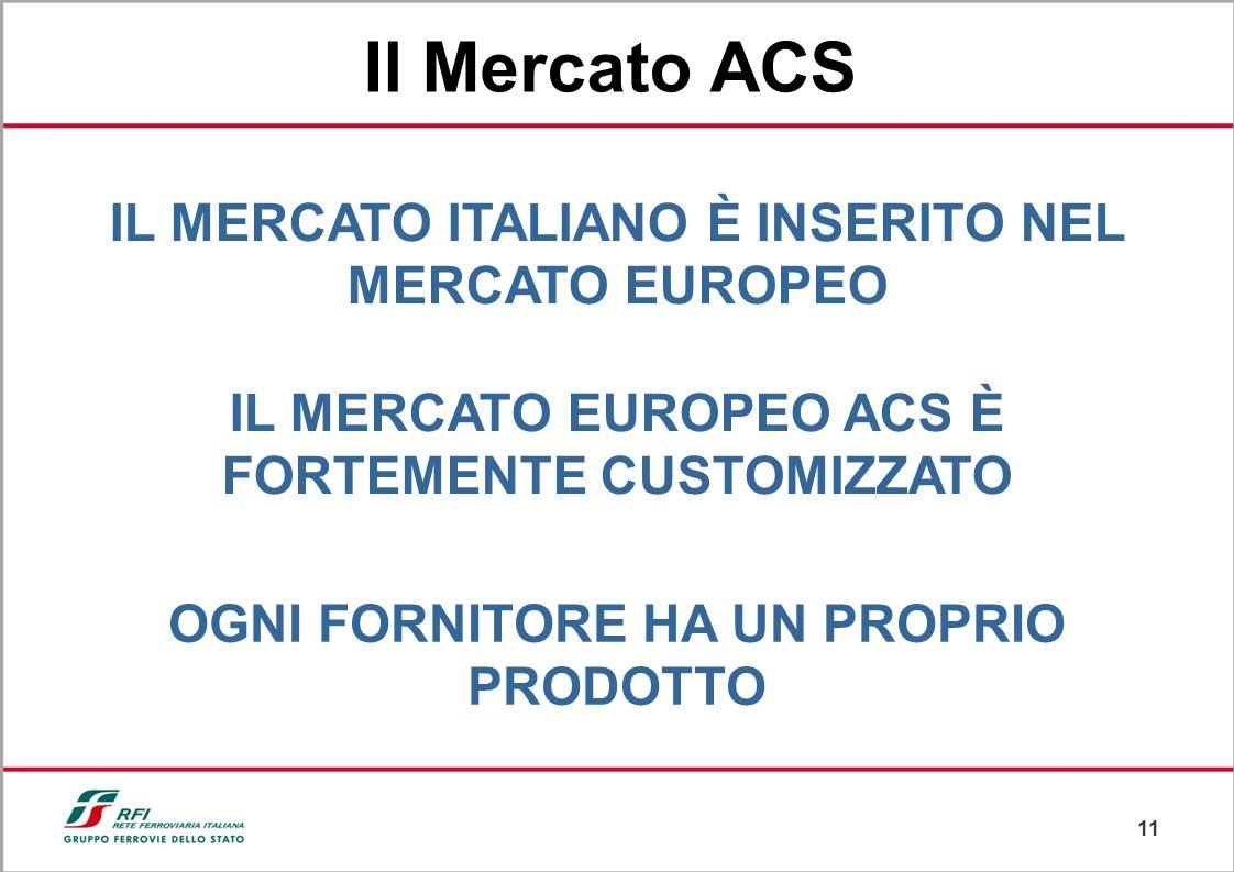 10 In Italia attualmente sono presenti circa 40 impianti ACS Le Linee AV Roma-Napoli e Torino-Novara sono costituite da tratte controllate da ACS deno