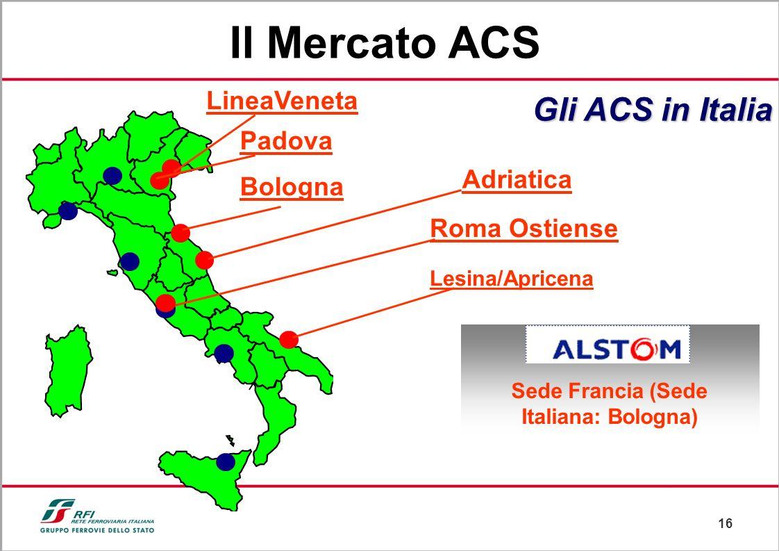 15 Nodo di Genova Nodo di Napoli Roma Termini Sede Genova Gli ACS in Italia Sicilia Nodo di Milano Pisa Il Mercato ACS