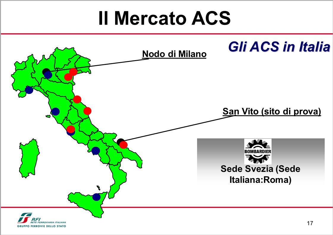 16 Adriatica Lesina/Apricena Roma Ostiense Sede Francia (Sede Italiana: Bologna) LineaVeneta Gli ACS in Italia Padova Bologna Il Mercato ACS