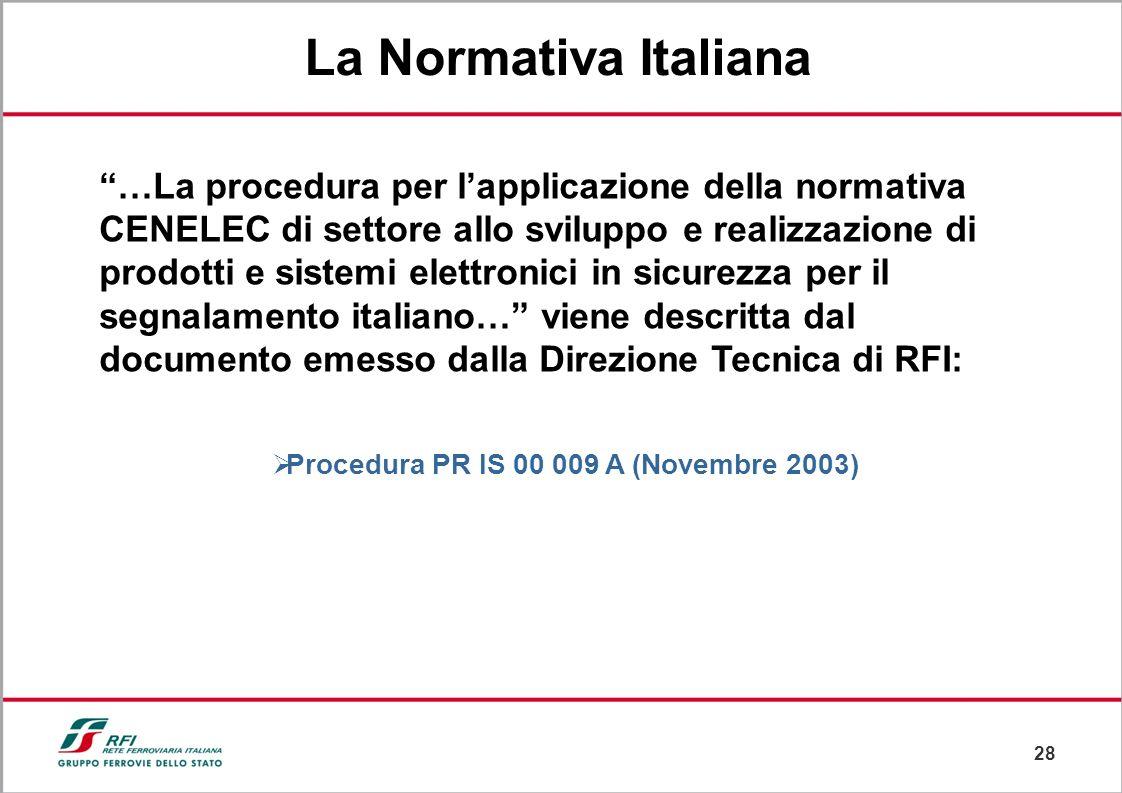 27 Disposizione 32 (ottobre 2002) In base alla Normativa CENELEC Definizione dei processi di: Sviluppo Realizzazione Analisi del Rischio e Sicurezza d
