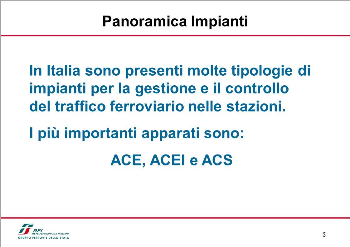 3 Panoramica Impianti In Italia sono presenti molte tipologie di impianti per la gestione e il controllo del traffico ferroviario nelle stazioni.