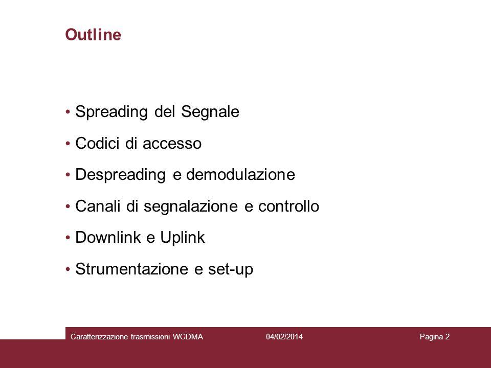 04/02/2014Caratterizzazione trasmissioni WCDMAPagina 2 Outline Spreading del Segnale Codici di accesso Despreading e demodulazione Canali di segnalazi
