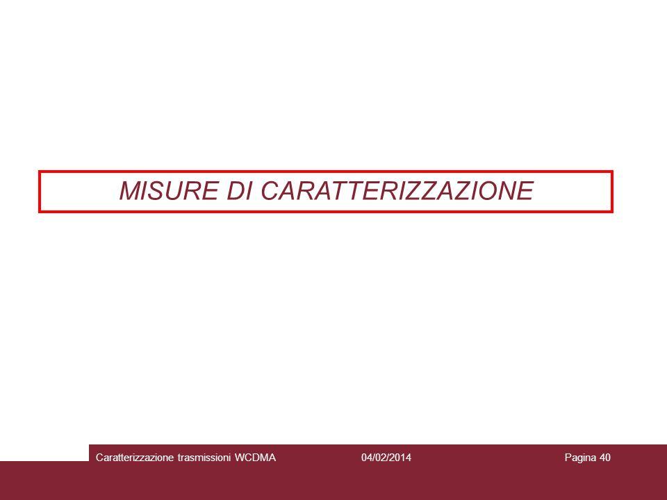 MISURE DI CARATTERIZZAZIONE 04/02/2014Caratterizzazione trasmissioni WCDMAPagina 40