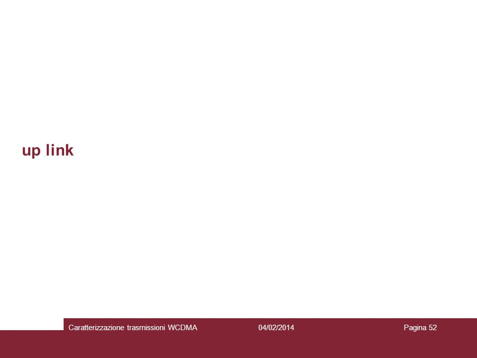 up link 04/02/2014Caratterizzazione trasmissioni WCDMAPagina 52