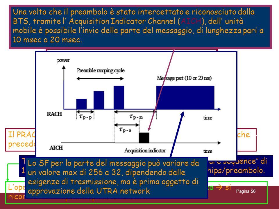 04/02/2014Caratterizzazione trasmissioni WCDMAPagina 56 Random Access Channel ( RACH ) è un canale di trasporto in uplink; è sempre completamente rice