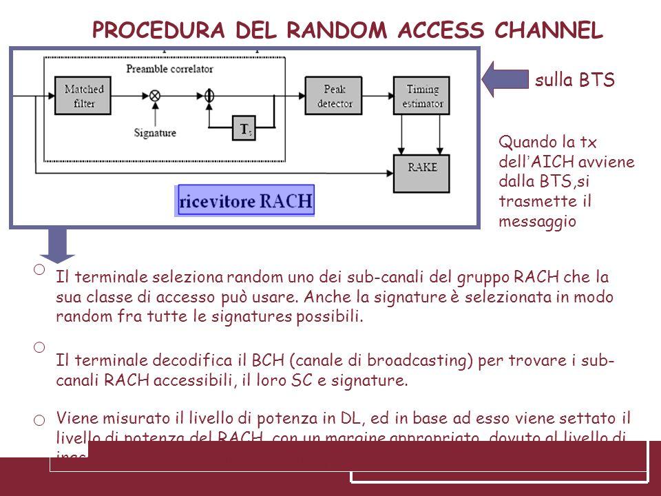 PROCEDURA DEL RANDOM ACCESS CHANNEL sulla BTS Il terminale decodifica il BCH (canale di broadcasting) per trovare i sub- canali RACH accessibili, il l