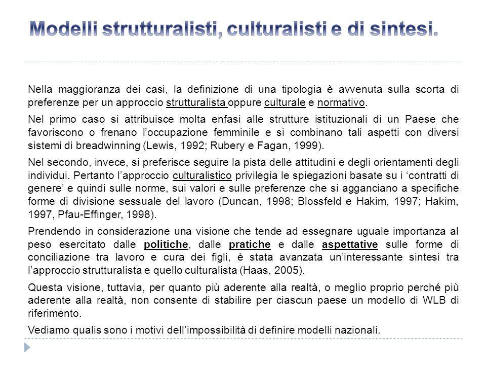Nella maggioranza dei casi, la definizione di una tipologia è avvenuta sulla scorta di preferenze per un approccio strutturalista oppure culturale e n