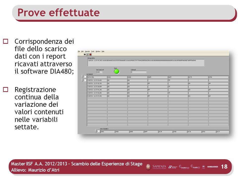 Master IISF A.A. 2012/2013 - Scambio delle Esperienze di Stage Allievo: Maurizio dAtri Prove effettuate Corrispondenza dei file dello scarico dati con