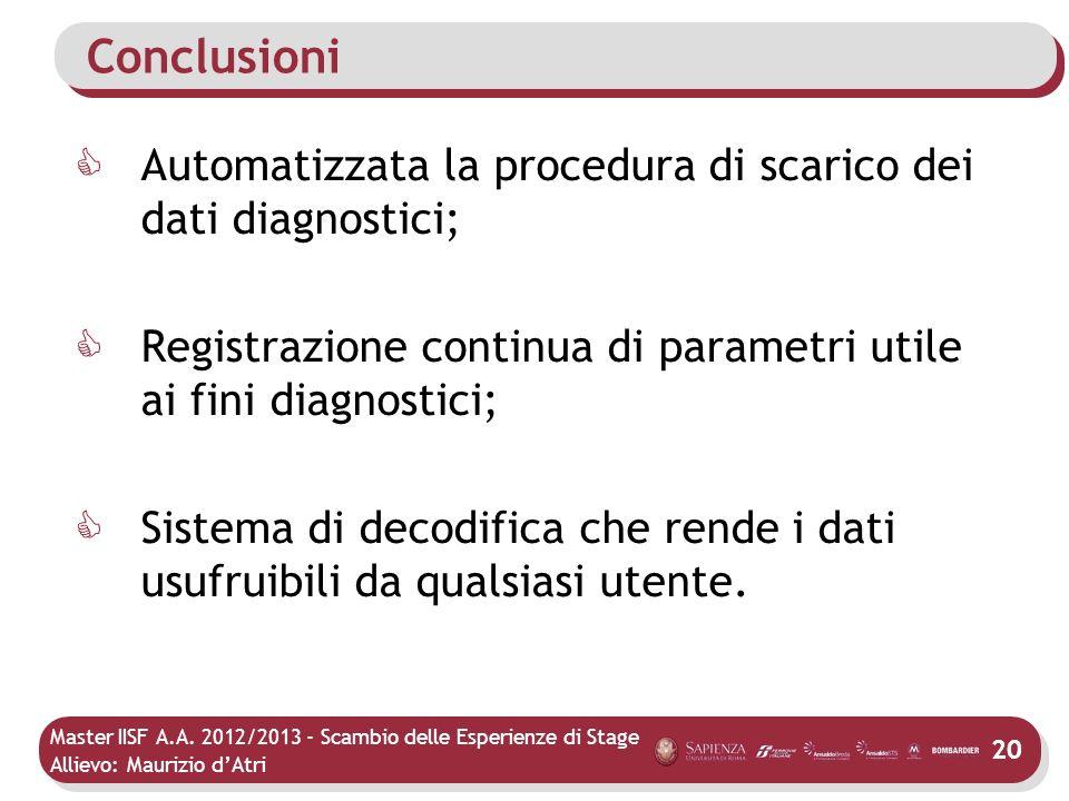 Master IISF A.A. 2012/2013 - Scambio delle Esperienze di Stage Allievo: Maurizio dAtri Conclusioni Automatizzata la procedura di scarico dei dati diag
