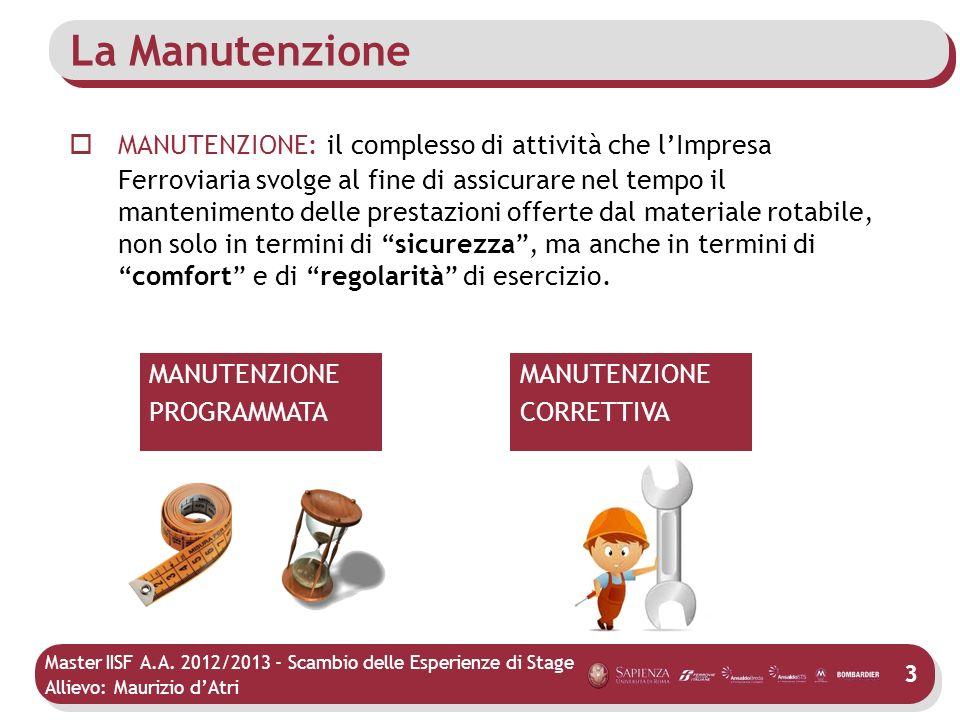 Master IISF A.A. 2012/2013 - Scambio delle Esperienze di Stage Allievo: Maurizio dAtri La Manutenzione MANUTENZIONE: il complesso di attività che lImp