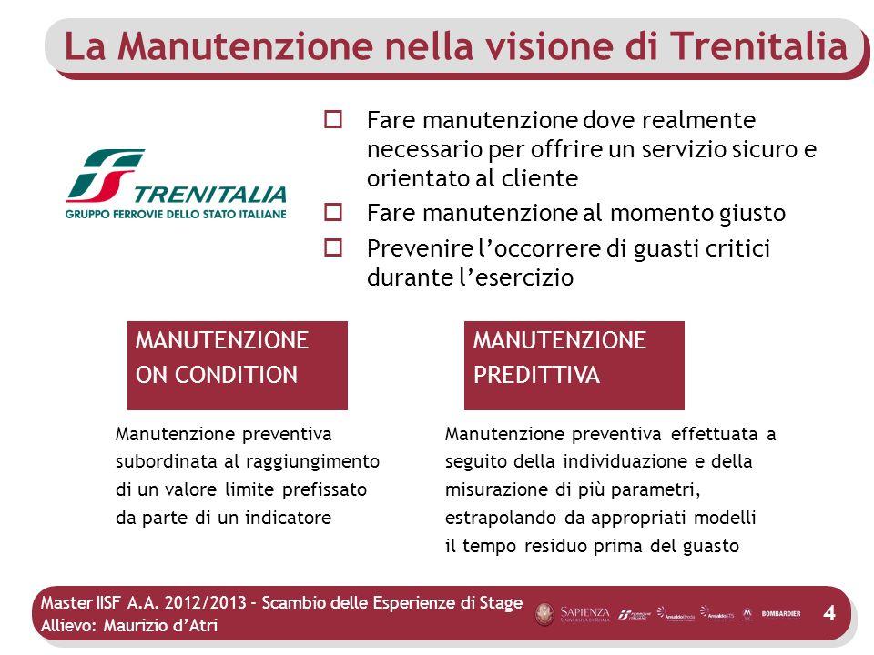 Master IISF A.A. 2012/2013 - Scambio delle Esperienze di Stage Allievo: Maurizio dAtri La Manutenzione nella visione di Trenitalia Fare manutenzione d
