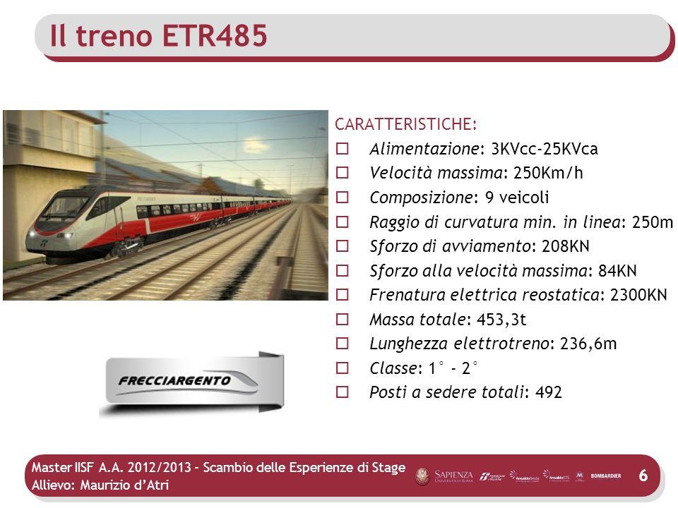 Master IISF A.A. 2012/2013 - Scambio delle Esperienze di Stage Allievo: Maurizio dAtri Il treno ETR485 CARATTERISTICHE: Alimentazione: 3KVcc-25KVca Ve