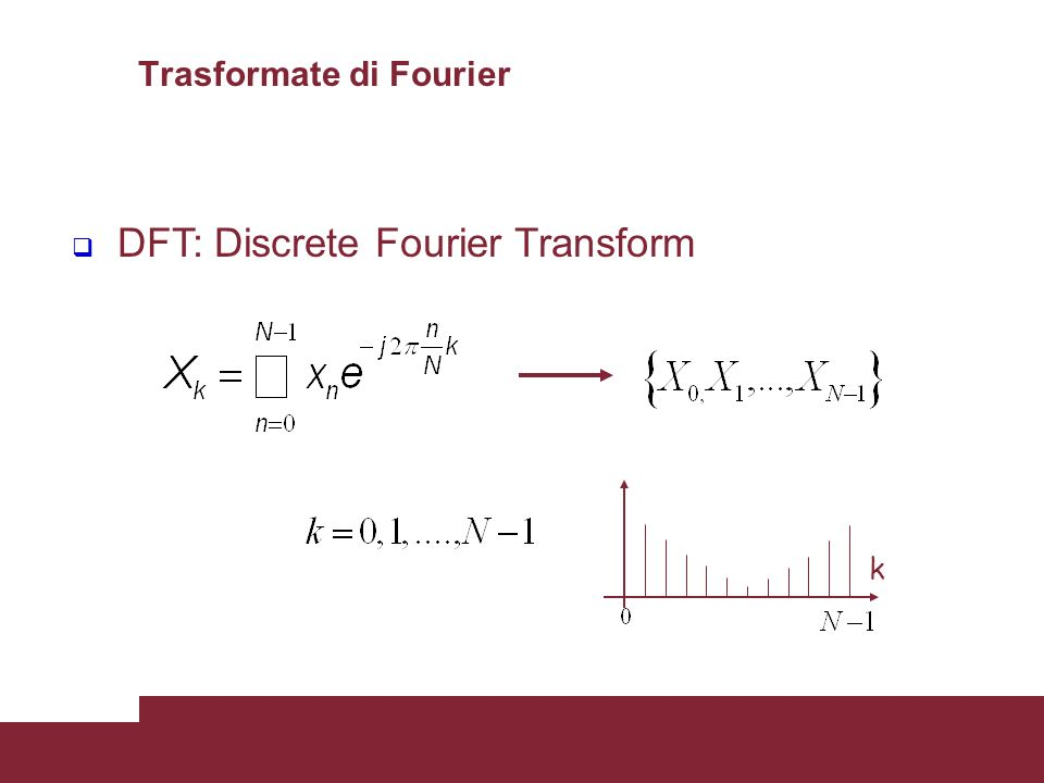 26 DFT: Discrete Fourier Transform k Trasformate di Fourier