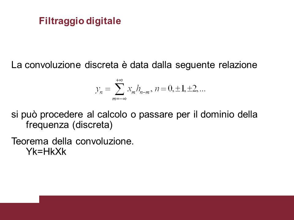 28 La convoluzione discreta è data dalla seguente relazione si può procedere al calcolo o passare per il dominio della frequenza (discreta) Teorema de