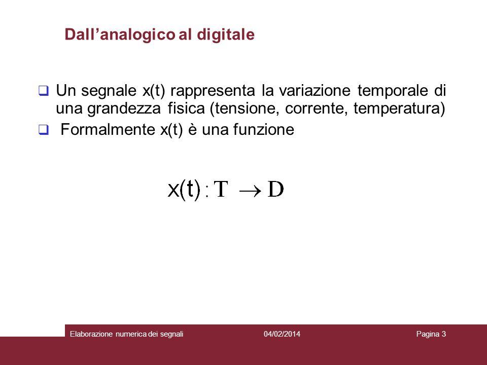 04/02/2014Elaborazione numerica dei segnaliPagina 3 Dallanalogico al digitale Un segnale x(t) rappresenta la variazione temporale di una grandezza fis