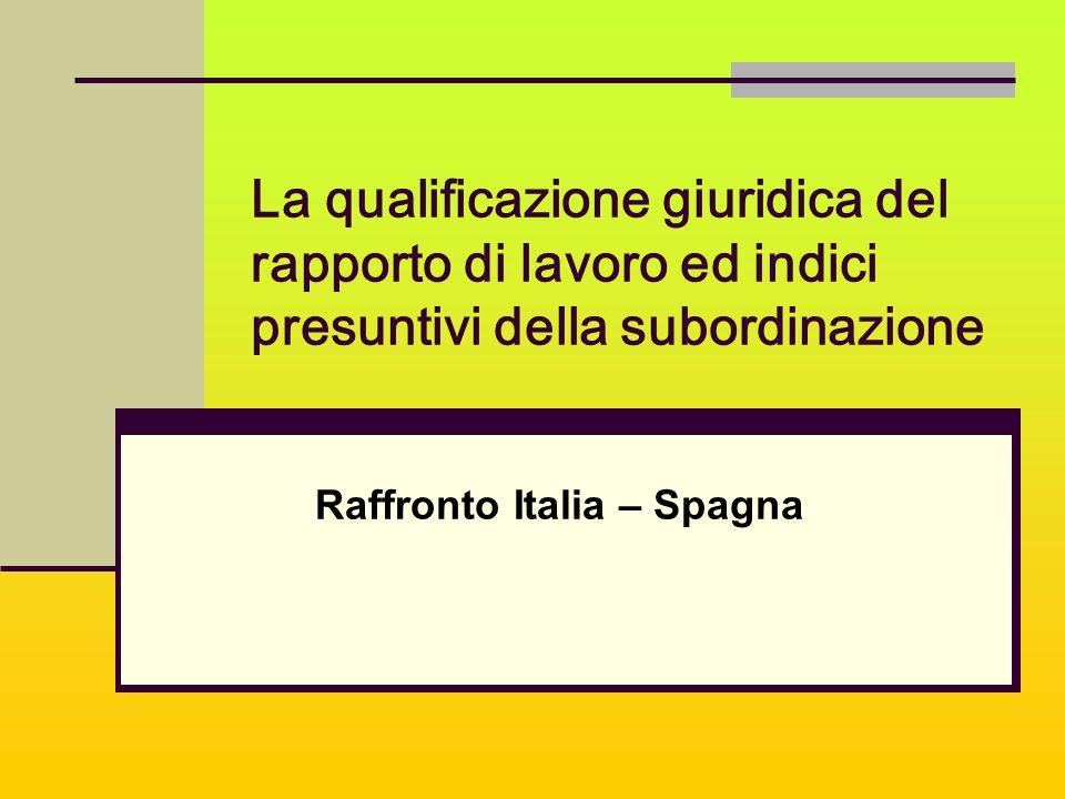 La qualificazione giuridica del rapporto di lavoro ed indici presuntivi della subordinazione Raffronto Italia – Spagna