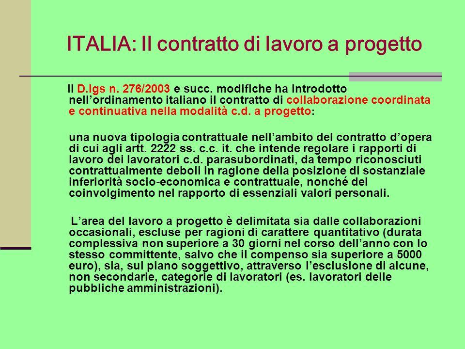ITALIA: Il contratto di lavoro a progetto Il D.lgs n. 276/2003 e succ. modifiche ha introdotto nellordinamento italiano il contratto di collaborazione