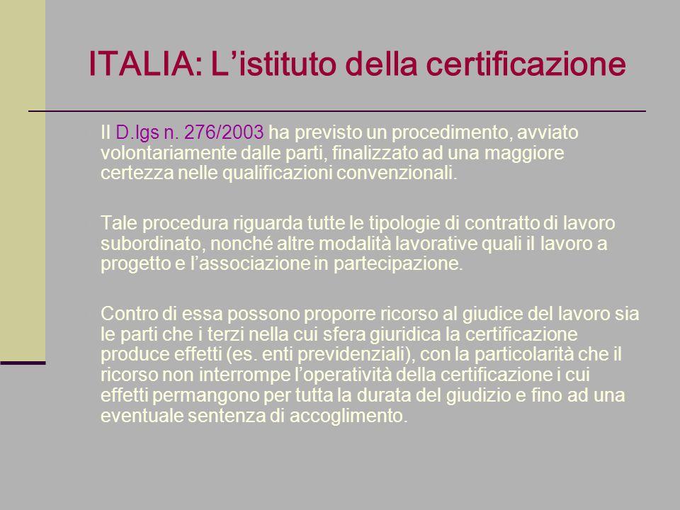 ITALIA: Listituto della certificazione Il D.lgs n. 276/2003 ha previsto un procedimento, avviato volontariamente dalle parti, finalizzato ad una maggi