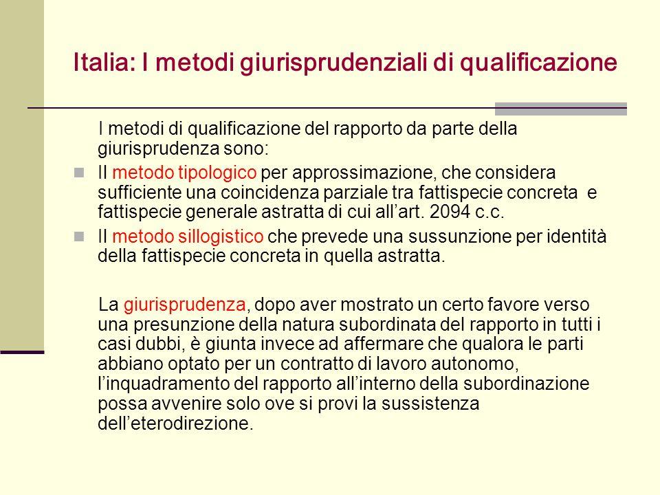 Italia: I metodi giurisprudenziali di qualificazione I metodi di qualificazione del rapporto da parte della giurisprudenza sono: Il metodo tipologico