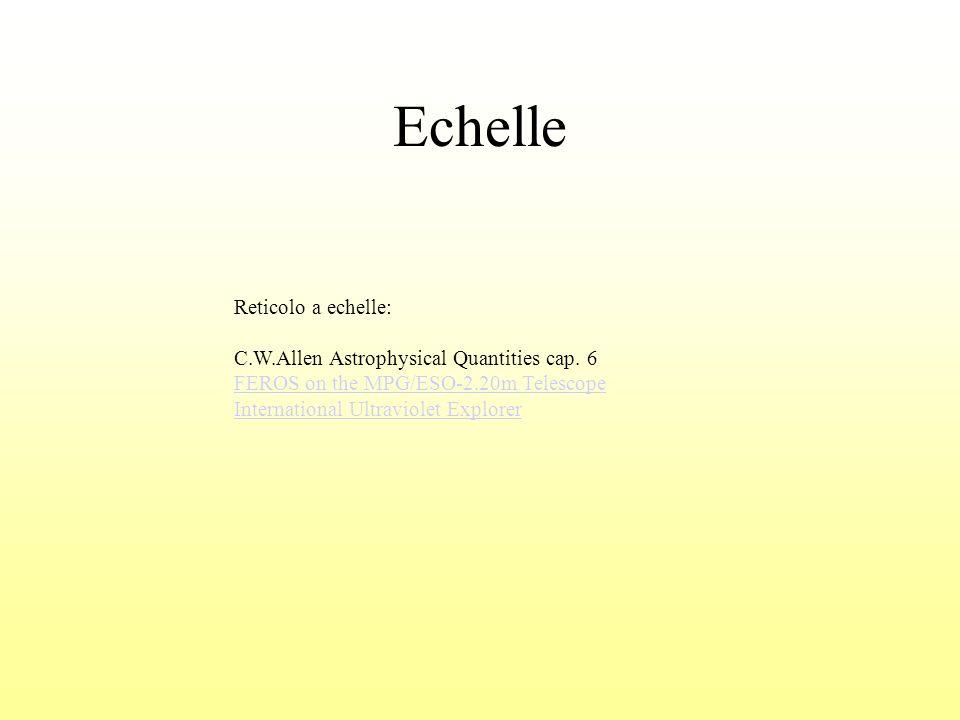 Echelle Reticolo a echelle: C.W.Allen Astrophysical Quantities cap. 6 FEROS on the MPG/ESO-2.20m Telescope International Ultraviolet Explorer