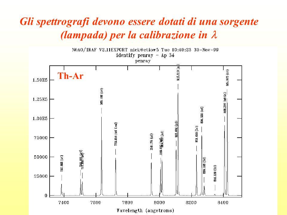 Gli spettrografi devono essere dotati di una sorgente (lampada) per la calibrazione in Th-Ar