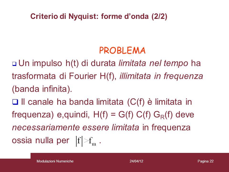 PROBLEMA 22 Un impulso h(t) di durata limitata nel tempo ha trasformata di Fourier H(f), illimitata in frequenza (banda infinita). Il canale ha banda
