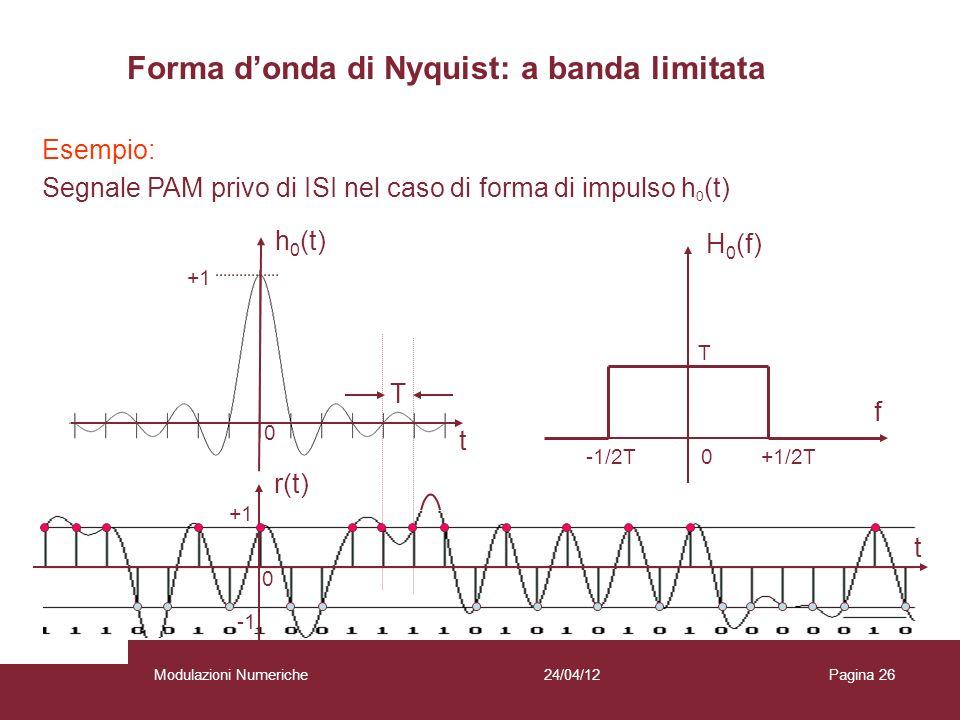 26 Esempio: Segnale PAM privo di ISI nel caso di forma di impulso h 0 (t) h 0 (t) t t r(t) T 0 +1 0 f H 0 (f) T -1/2T 0 +1/2T Forma donda di Nyquist: