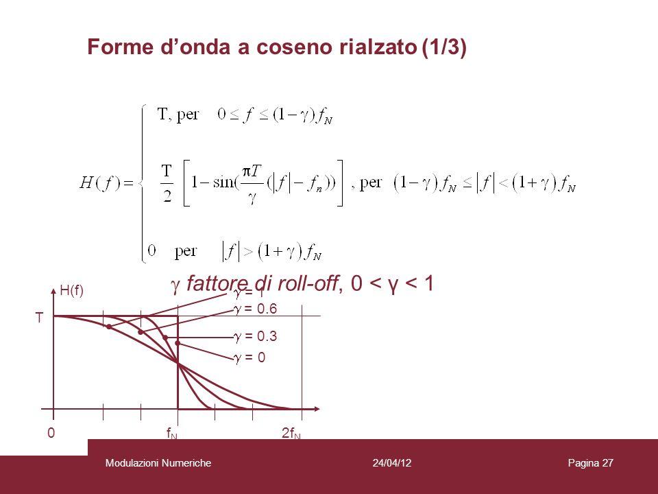 27 0 f N 2f N H(f) T = 0.3 = 0.6 = 1 = 0 fattore di roll-off, 0 < γ < 1 Forme donda a coseno rialzato (1/3) 24/04/12Modulazioni NumerichePagina 27