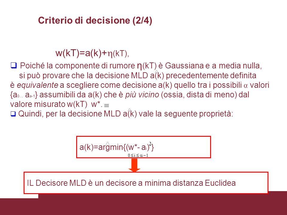 35 a(k)=argmin{(w*- a i ) } w(kT)=a(k)+ (kT), Poiché la componente di rumore η (kT) è Gaussiana e a media nulla, si può provare che la decisione MLD a